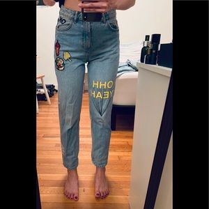 Zara limited edition patches ankle mom jeans